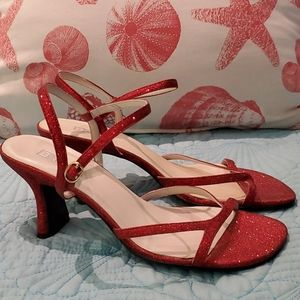 Nordstrom Brass Plum Strappy Glitter Heels